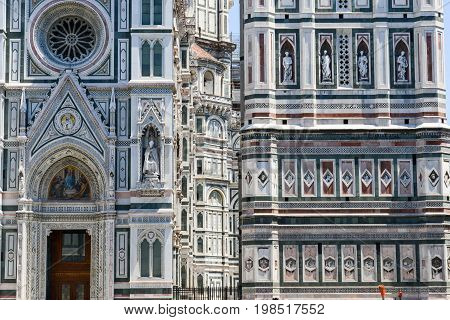 Firenze Italy - 5 July 2017: Detail of the Cathedral and Giotto's belltower in Florence on Italy.