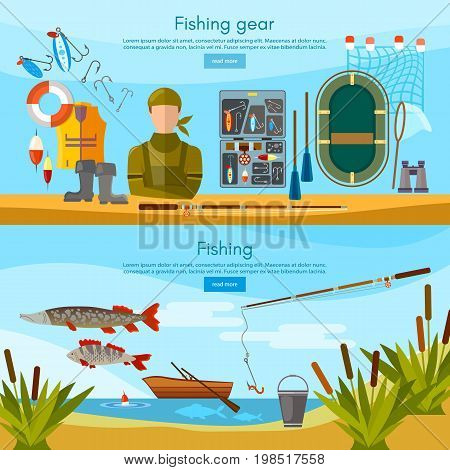Summer fishing banner professional fisher elements vector template