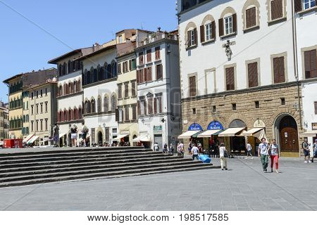 Saint Lorenzo Square At Florence On Italy.
