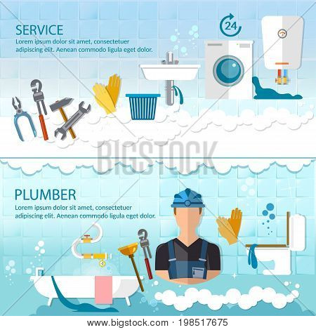 Professional plumber banner plumbing service different tools and accessories pipe repair elimination of leaks. Call plumber concept