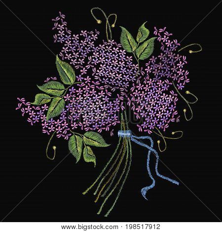 Embroidery lilac beautiful violet bouquet blossoming lilac on black background. Сlassical embroidery lilac. Fashionable template for design of clothes t-shirt design