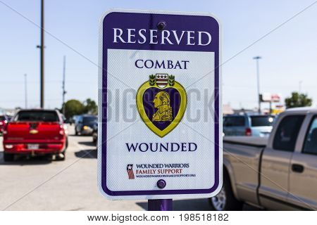 Kokomo - Circa August 2017: Reserved Combat Wounded Veteran/Purple Heart Parking at a Lowe's Home Improvement Warehouse XI