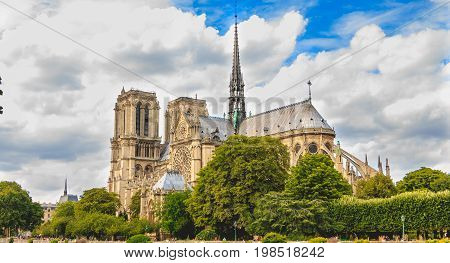 Wide Shot Of Notre-dame Cathedral In Paris, France