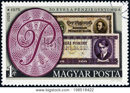 HUNGARY - CIRCA 1976: A stamp printed in Hungary issued for the 50th Anniversary of the Hungarian Bank Note Corporation shows banknotes of 1925 and 1975, circa 1976.