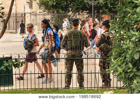 Soldiers Monitor And Protect Tourists As Part Of The Plan