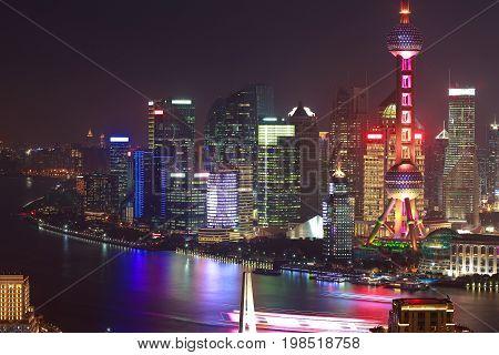 Aerial photography bird view at Shanghai bund Skyline of night scene