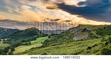 Sunset panorama of Castell Dinas Bran near Llangollen from Panorama Walk