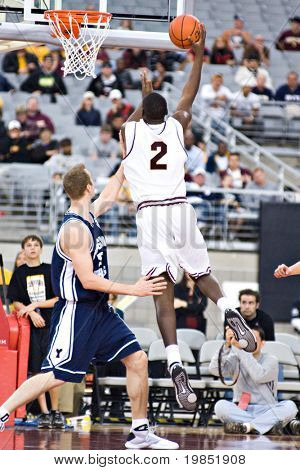 GLENDALE, AZ - DECEMBER 20: Arizona State University center Eric Boateng #2 puts up a shot in the basketball game against Brigham Young University on December 20, 2008 in Glendale, Arizona.