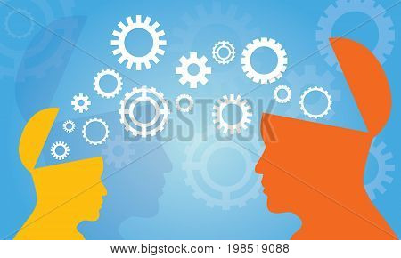 Vector illustration. Knowledge Transfer Concept. Two head silhouette of man and woman sharing knowledge idea gear symbol technology future over blue background