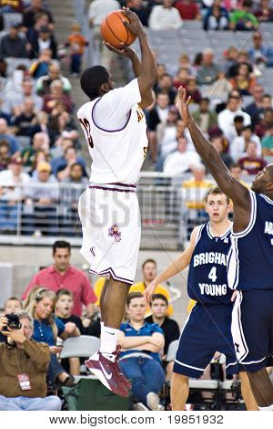 GLENDALE, AZ - DECEMBER 20: Arizona State University guard James Harden #13 puts up a jump shot during the basketball game against Brigham Young University on December 20, 2008 in Glendale, Arizona.