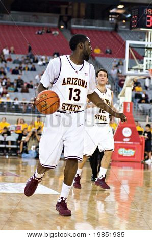GLENDALE, AZ - DECEMBER 20: Arizona State University guard James Harden #13 dribbles upcourt during the basketball game against Brigham Young University on December 20, 2008 in Glendale, Arizona.
