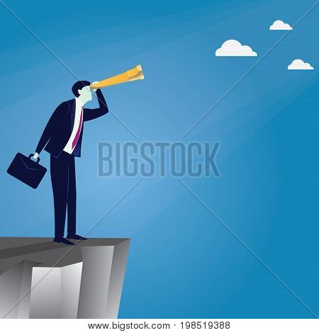 Vector illustration. Business vision concept. Businessman holding and looking trough telescope looking forward while standing on his sailboat. Future direction development goal success