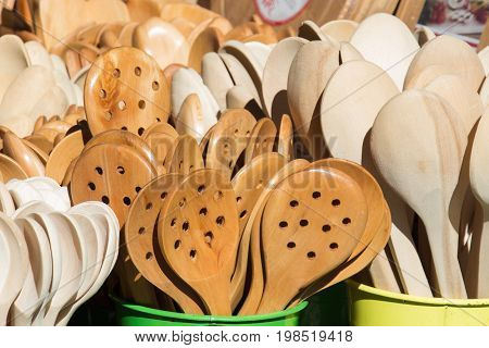 Soup Spoon Or Tablespoon Made Of Wood