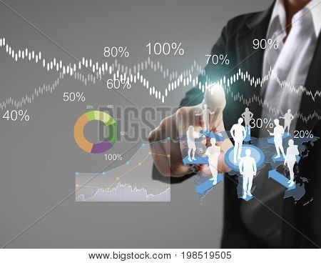 Businessman pushing mobile touchscreen for presentation business planning and marketing strategy for developing sales and increase net profit margin in company, bar graph, pie, line chart on display