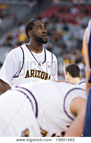 GLENDALE, AZ - DECEMBER 20: Arizona State University guard James Harden #13 shoots a free throw during the basketball game against Brigham Young University on December 20, 2008 in Glendale, Arizona.