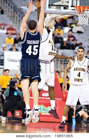 GLENDALE, AZ - DECEMBER 20: Jonathan Tavernari #45 of Brigham Young shoots over James Harden #13 of Arizona State University during the basketball game on December 20, 2008 in Glendale, Arizona.