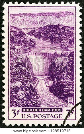USA - CIRCA 1935: A stamp printed in USA shows Boulder (Hoover) Dam, Nevada, circa 1935.