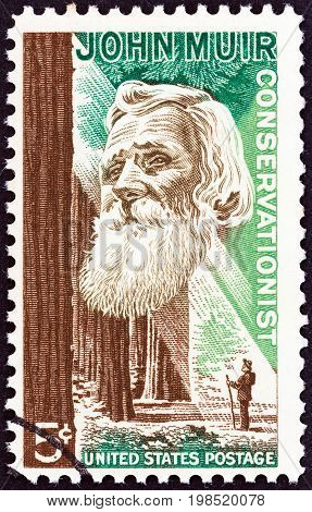 USA - CIRCA 1964: A stamp printed in USA shows naturalist John Muir and forest , circa 1964.