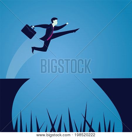 Vector illustration. Business power concept. Businessman jumping over gap that full of spear and thorn. Conquering obstacle challenge concept.
