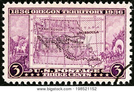 USA - CIRCA 1936: A stamp printed in USA issued for the Oregon Centenary shows Map of Old Oregon Territory, circa 1936.