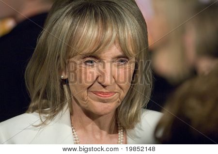 MESA, AZ - FEBRUARY 18: Arizona Governor Jan Brewer attends President Barack Obama's speech at Dobson High School on  February 18, 2009 in Mesa, AZ.
