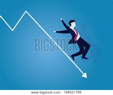 Vector illustration. Business failure concept. Businessman falling down on failure arrow