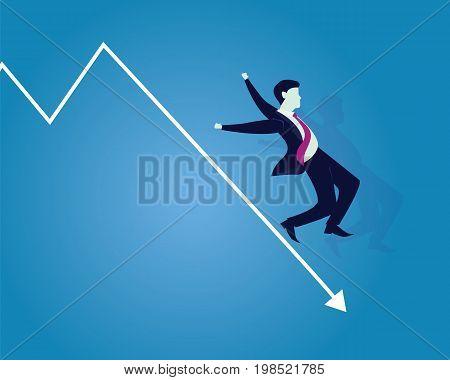Vector illustration. Business failure concept. Businessman falling down on failure arrow