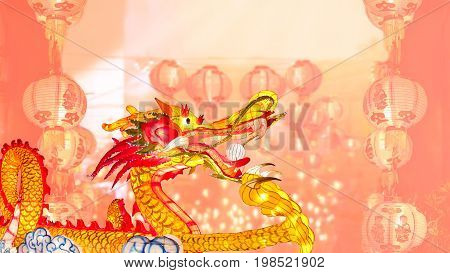Chinese new year dragon with lanterns in china town