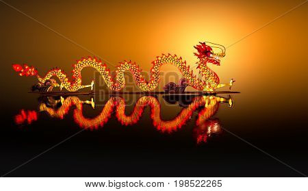 Chinese new year dragon Lantern on pond .
