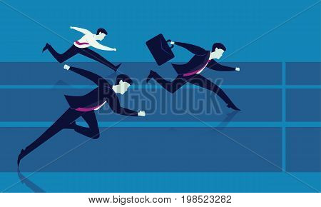 Vector illustration. Business competition concept. Businessmen sprint racing forward to winning success on running track.