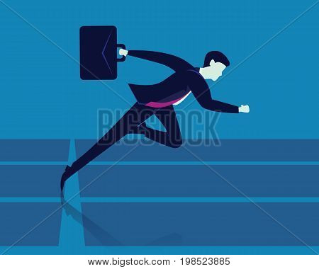 Vector illustration. Businessman holding working bag while sprinting on running track