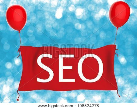 3d rendering seo concept or search enging optimization concept