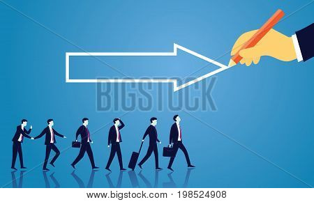 Vector illustration. Business directional leadership conceptual. Businessmen stepping forward looking for success in the way showed by giant hand of leader. Pointing direction arrow teamwork concept