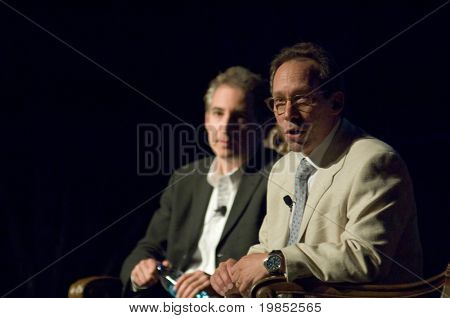 TEMPE, AZ - APRIL 6: Cosmologist Dr. Lawrence Krauss and theoretical physicist Dr. Brian Greene address the Origins Symposium at Arizona State University on April 6, 2009 in Tempe, AZ.