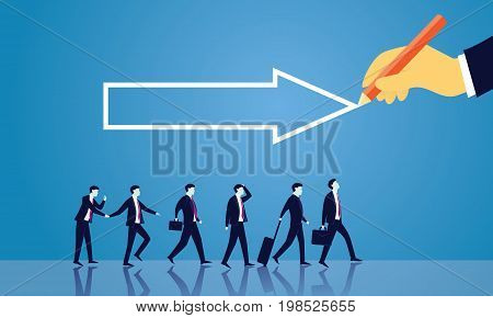 Vector illustration. Business directional leadership conceptual. Businessmen stepping forward looking for success in the way showed by giant hand of leader. Pointing direction arrow competition concept