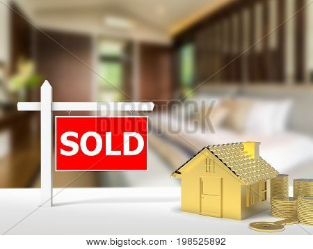 3d rendering sold house sign with gold mock up house