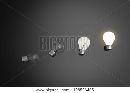 innovation concept with 3d rendering light bulbs shining