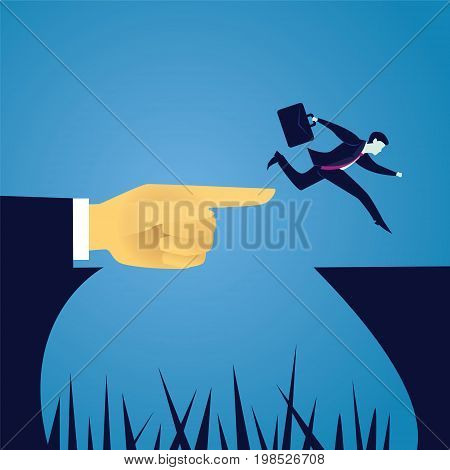 Vector illustration. Business challenge concept. Businessman jump leaf to conquer obstacle challenge gap with help of giant leader hand