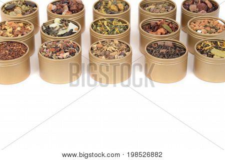 metal tins of organic tea in rows