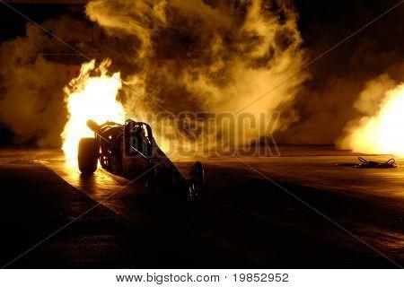 CHANDLER, AZ - APRIL 25: A jet powered drag car ignites its engine at the Firebird International Raceway on April 25, 2009 in Chandler, AZ.