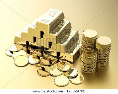 3d rendering stack of gold coins and bullions on gold background