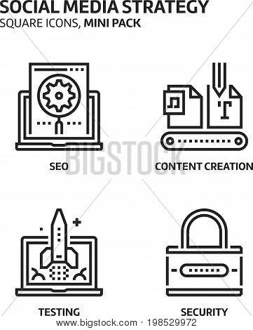 Social Media Strategy, Square Mini Icon Set.