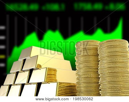 3d rendering stack of gold coins and bullions with business graph background