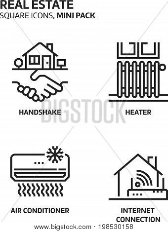 Real Estate, Square Mini Icon Set.