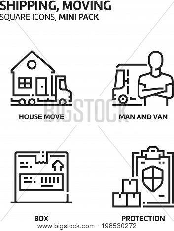 Movine, Shipping, Square Mini Icon Set.