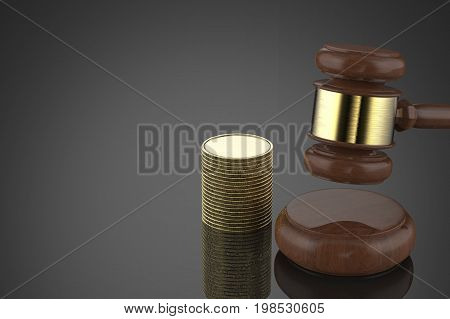 Gavel Judge With Stack Of Coins