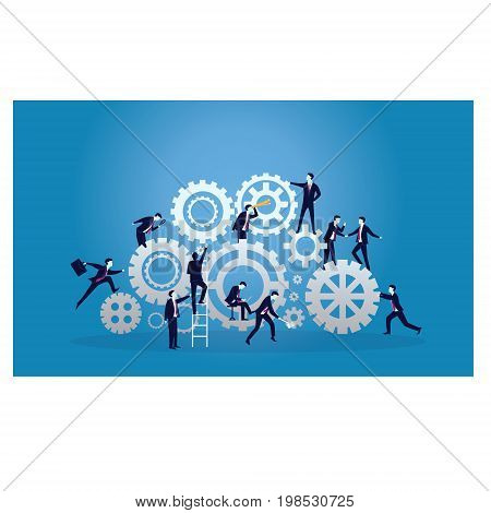 Vector illustration. Business teamwork concept. Businessmen working in team Group of people work together to run business engine of success together.