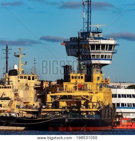 Yellow Icebreakers Moored