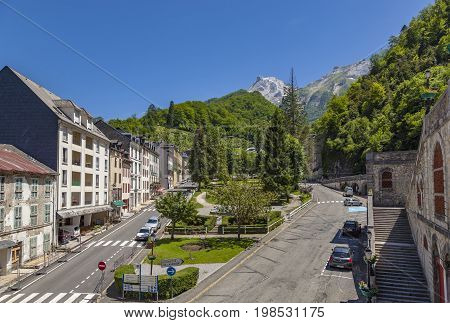 EAUX-BONNES FRANCE - JUNE 7 2017: Les Eaux-Bonnes a mountain spa resort in the French Pyrenees preserves the charm of the Belle Epoque style.