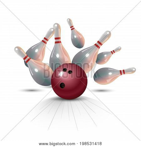 Realistic bowling strike concept on white background. Vector illustration.